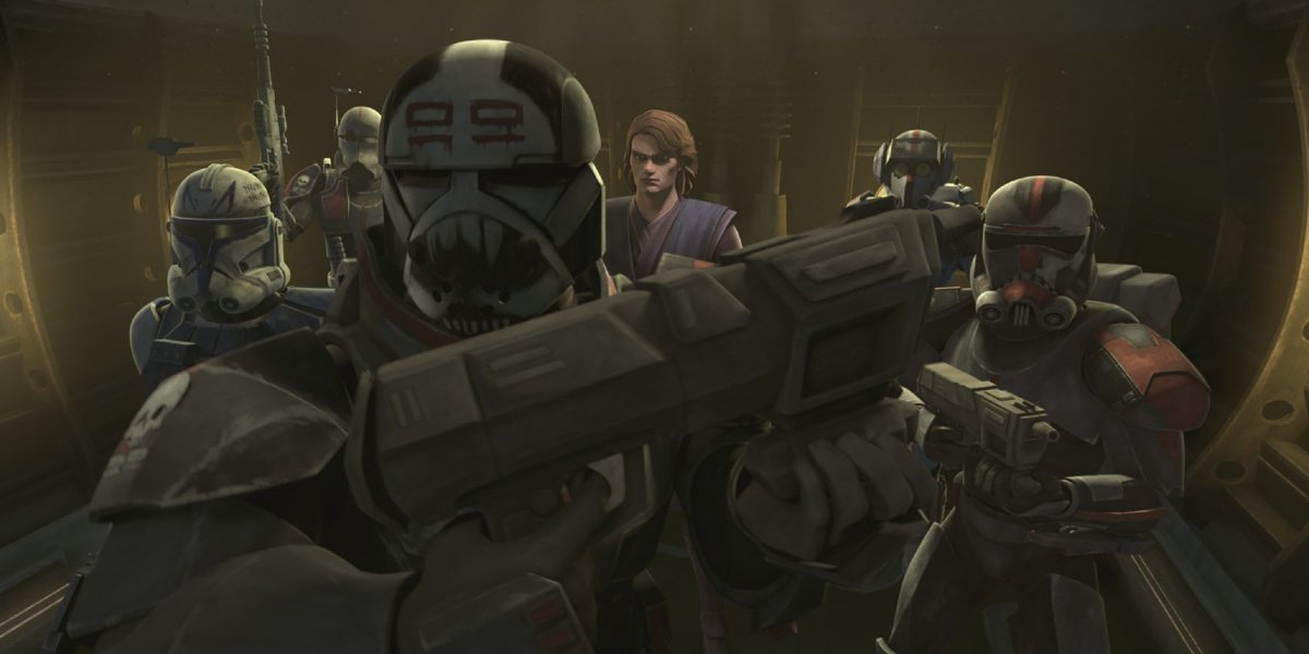 Clone Force 99 and Anakin Skywalker in Star Wars: The Clone Wars
