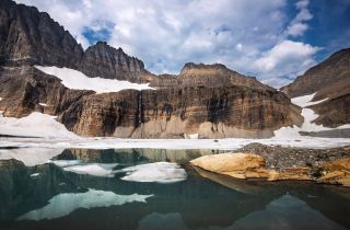 Meltwater from Grinnell, Gem and Salamander Glaciers feeds the teal lakes of Grinnell Valley in Glacier National Park.
