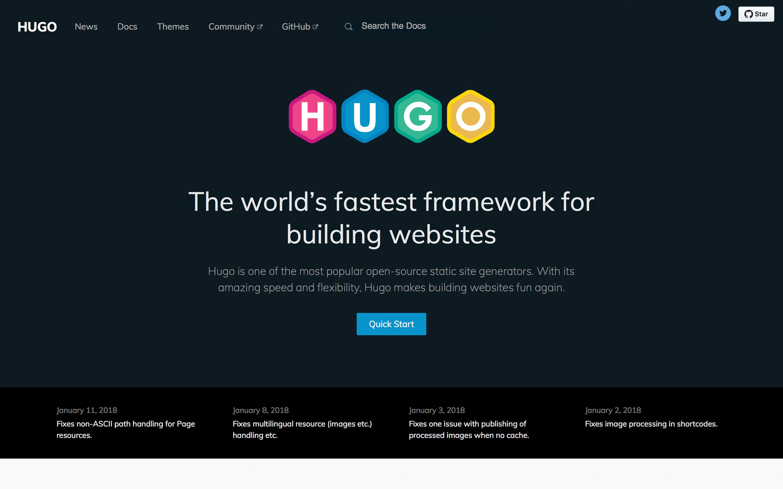Hugo homepage