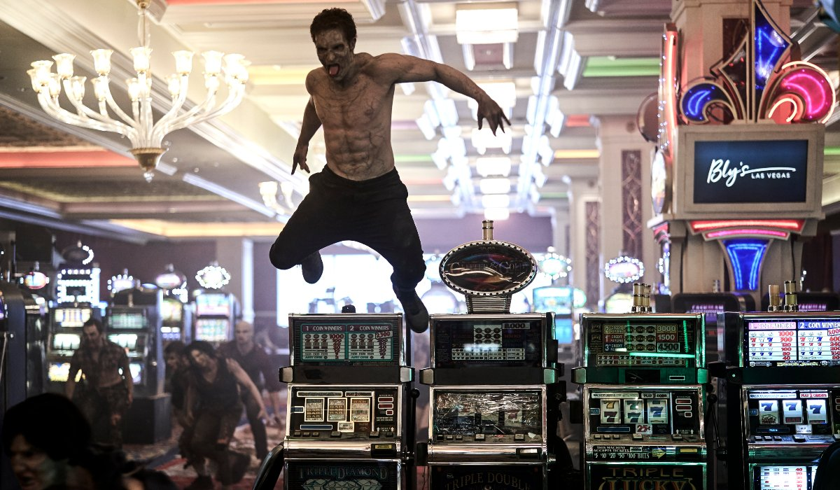 A zombie leaps into attack from a slot machine in Army of the Dead.