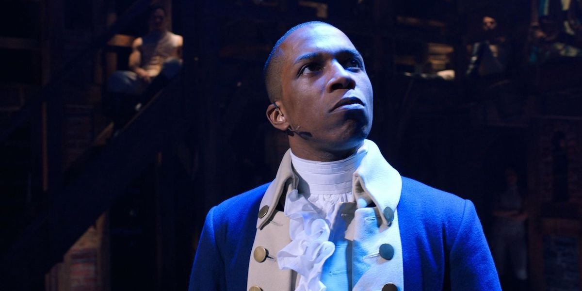 Aaron Burr (Leslie Odom Jr.) looks up in a scene from 'Hamilton'