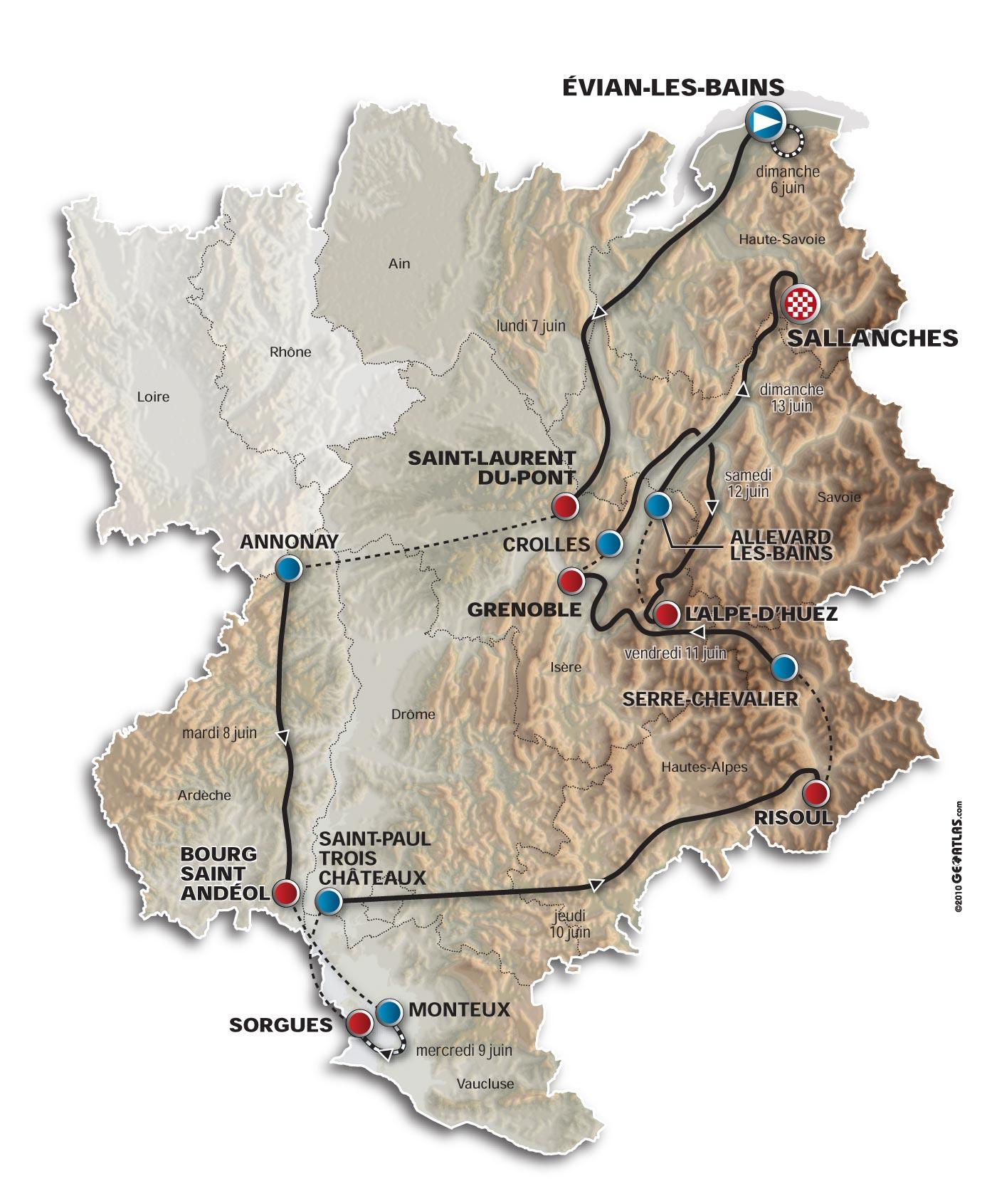 Criterium du Dauphine 2010 map