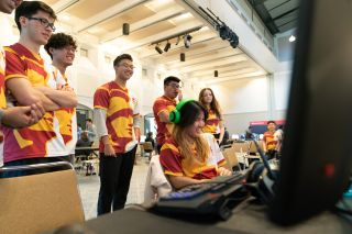 Students in a gaming conference