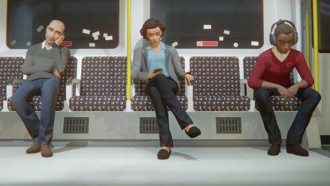 Three people sitting on a London subway train