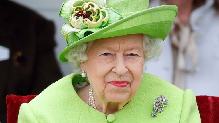 The Queen at the Out-Sourcing Inc. Royal Windsor Cup polo match and a carriage driving display by the British Driving Society at Guards Polo Club, Smith's Lawn on July 11, 2021 in Egham, England.