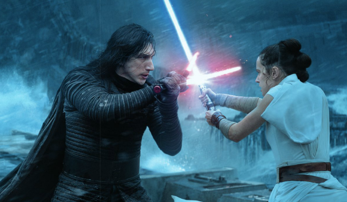 Adam Driver as Kylo Ren and Daisy Ridley as Rey in Rise of Skywalker