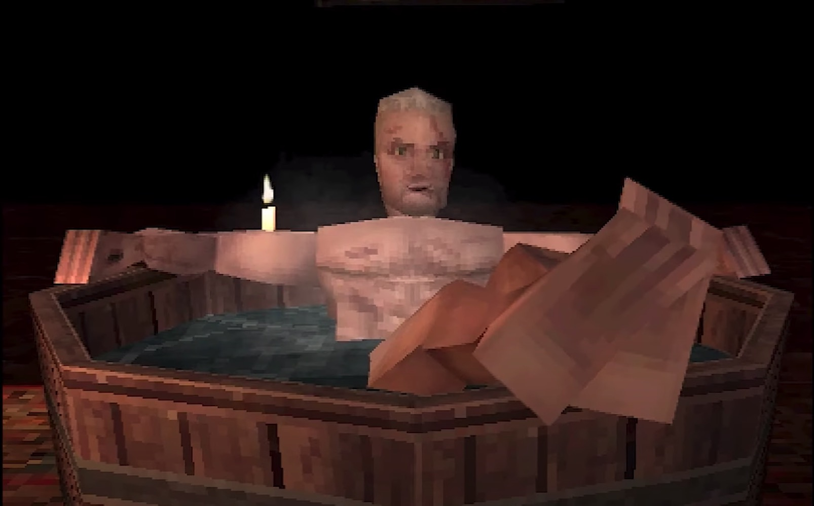 Geralt takes a nice warm bath in this Witcher 3 PS1 demake
