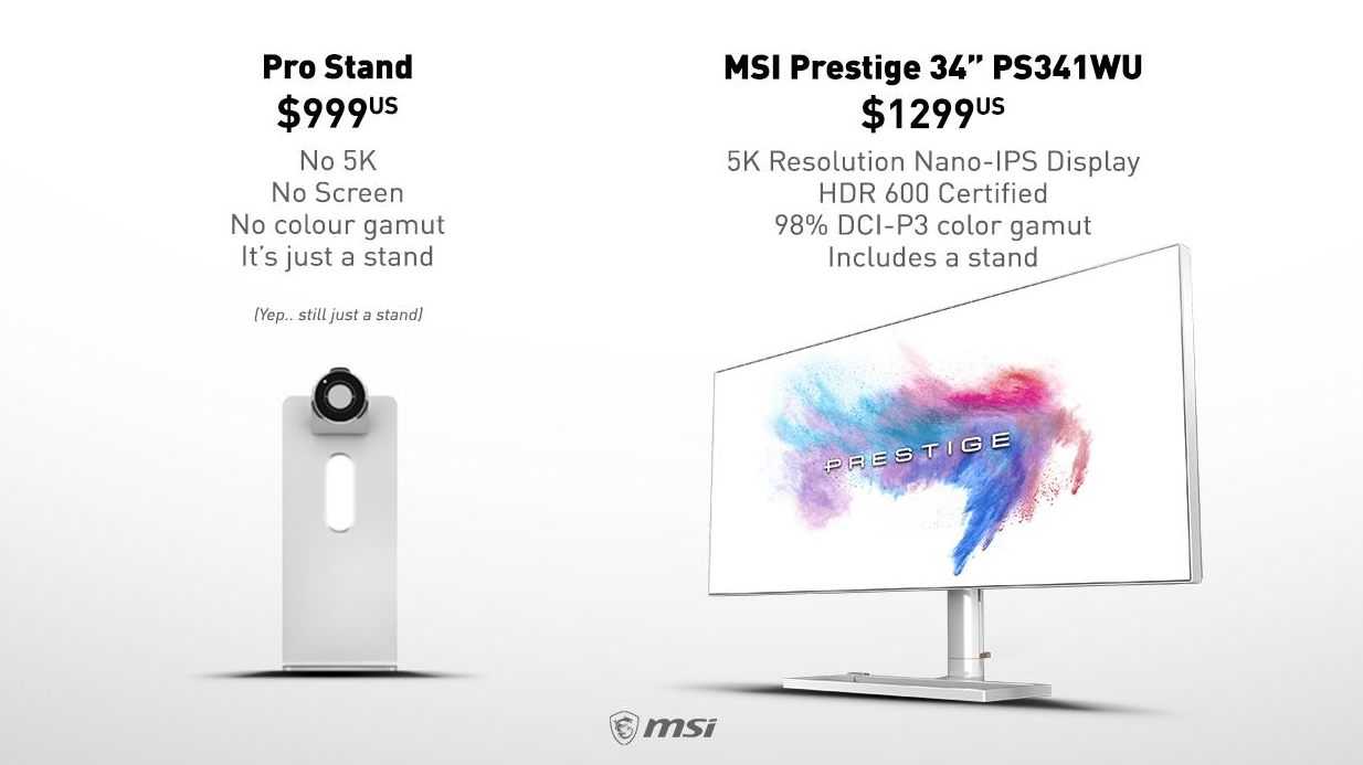 MSI mocks Apple's $999 Pro Display XDR stand with a 5K