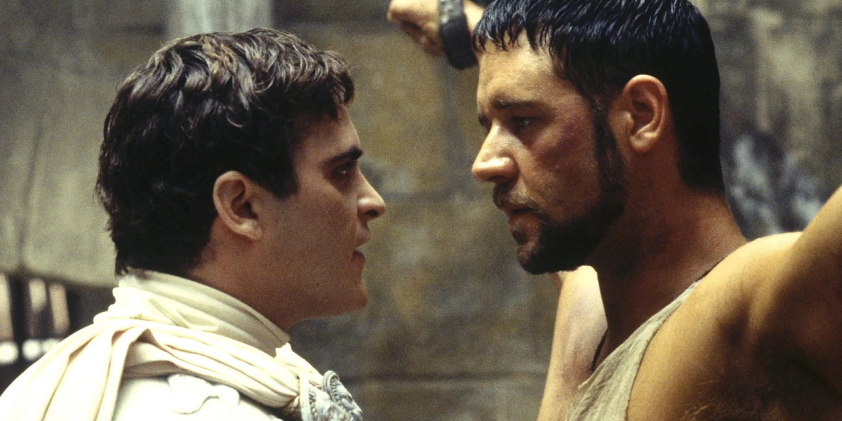 Gladiator Joaquin Phoenix taunts Russell Crowe in his cell