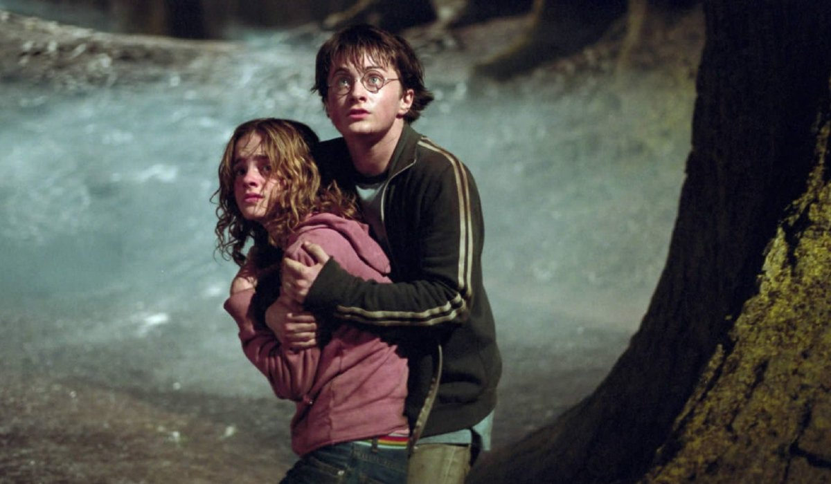 Harry Potter and the Prisoner of Azkaban Harry holding Hermione back in the forest