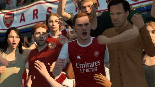 A crowd of yelling players in FIFA 21
