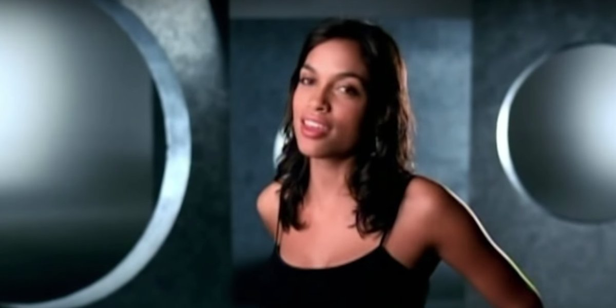 """Rosario Dawson in the video for Aaliyah's """"Miss You"""""""