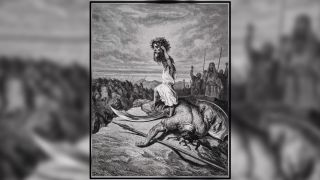 David slays Goliath in this illustration by Gustave Dore from the Dore Bible, 1866.
