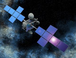 An artist's concept of the QuetzSat-1 directo TV broadcast satellite in orbit.