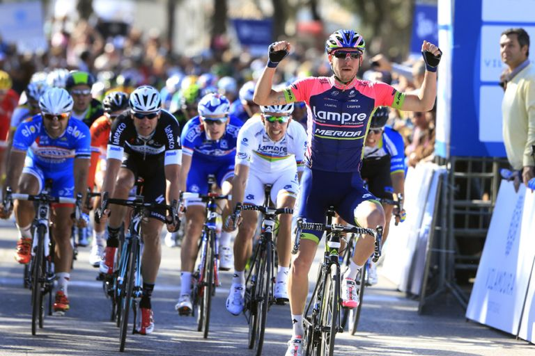 Sacha Modolo (Ita) Lampre-Merida wins Stage 1 of the 2014 Volta ao Algarve from Rui Costa (Por) (Lampre-Merida) amd Alessandro Petacchi (ITA) (Omgea Pharma Quickstep)