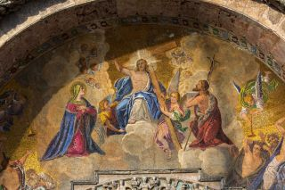 This mosaic in St. Mark Basilica in Venice, Italy, depicts the Ascension of Jesus Christ.