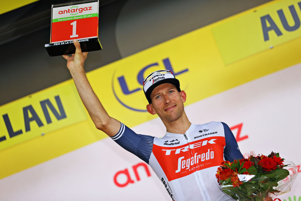 QUILLAN FRANCE JULY 10 Bauke Mollema of The Netherlands and Team Trek Segafredo Most Combative Rider celebrates at podium during the 108th Tour de France 2021 Stage 14 a 1837km stage from Carcassonne to Quillan LeTour TDF2021 on July 10 2021 in Quillan France Photo by Tim de WaeleGetty Images