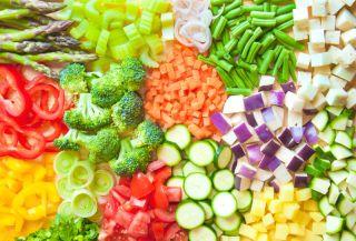 An assortment of precut vegetables