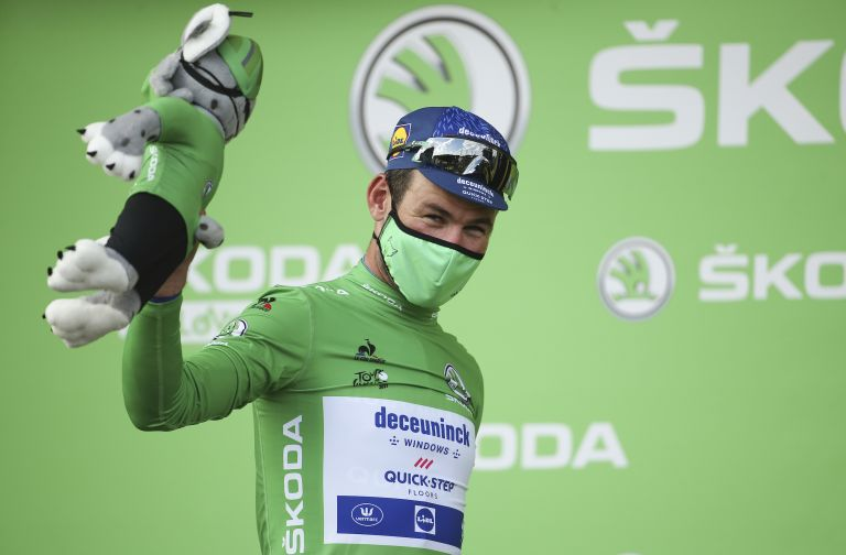 Mark Cavendish in the green jersey after stage six of the Tour de France 2021