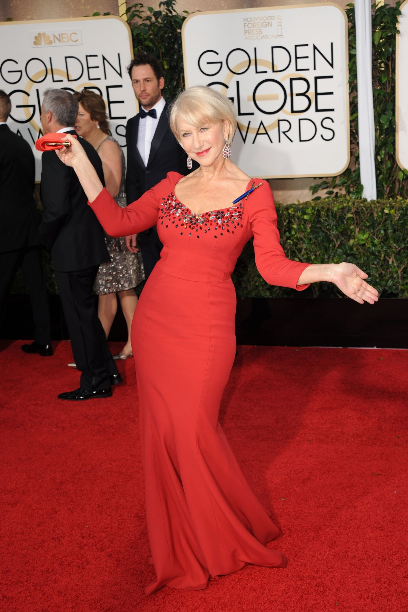 Helen Mirren in a red gown at the 2015 Golden Globe awards