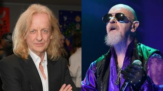 A composite image of KK Downing and Rob Halford