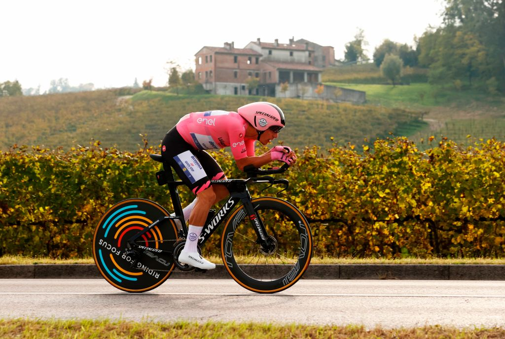 Team Deceuninck rider Portugals Joao Almeida rides during the fourteenth stage of the Giro dItalia 2020 cycling race a 341kilometer individual time trial between Conegliano and Valdobbiadene on October 17 2020 Photo by Luca BETTINI AFP Photo by LUCA BETTINIAFP via Getty Images