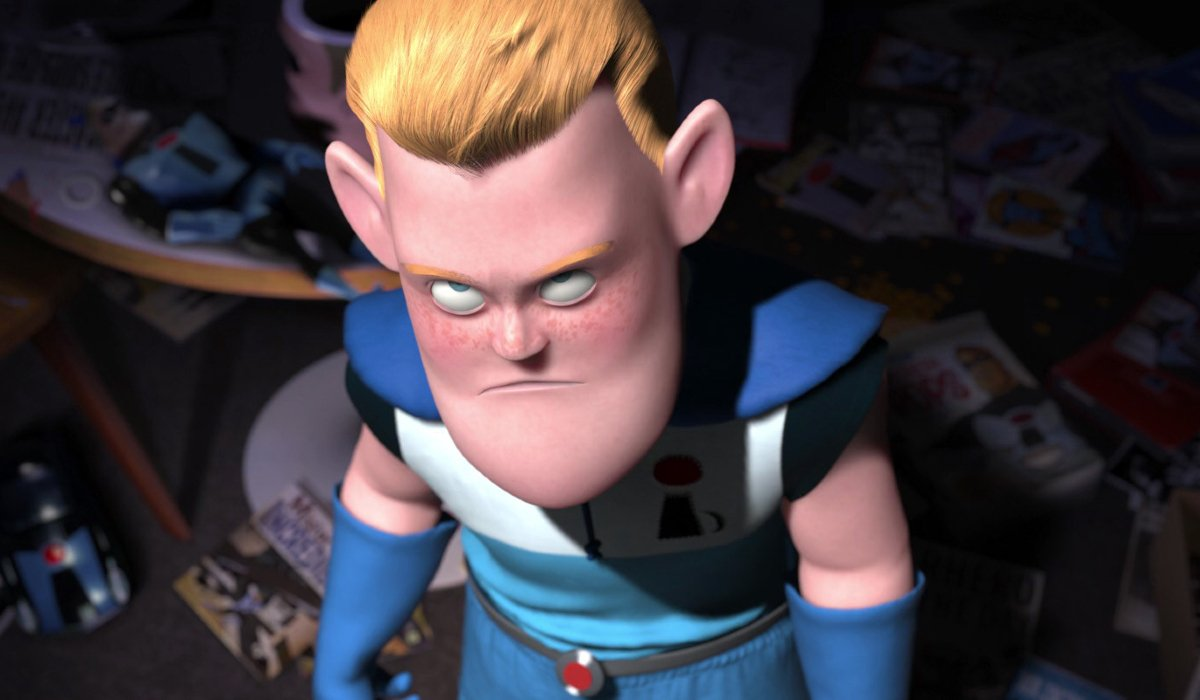 The Incredibles Buddy Pine looks up in anger