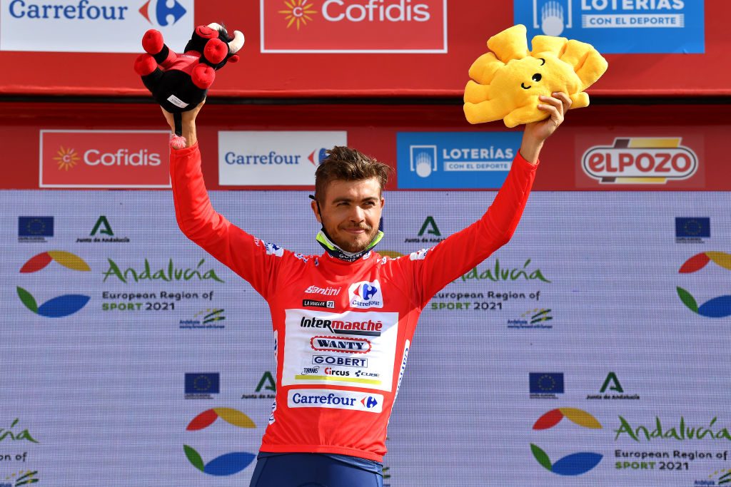 VALDEPEAS DE JAN SPAIN AUGUST 25 Odd Christian Eiking of Norway and Team Intermarch Wanty Gobert Matriaux celebrates winning the Red Leader Jersey on the podium ceremony after the 76th Tour of Spain 2021 Stage 11 a 1336km stage from Antequera to Valdepeas de Jan 1009m lavuelta LaVuelta21 on August 25 2021 in Valdepeas de Jan Spain Photo by Stuart FranklinGetty Images