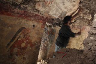 William Saturno excavates in a Mayan mural room.