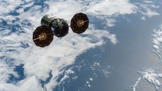 The S.S. John Young Cygnus cargo spacecraft leaves the ISS before burning up in Earth's atmosphere