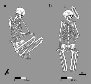 Bodies buried by family members in the Sonoran Desert were typically arranged in a flexed position on their side (left), while in atypical burials, bodies were left in more awkward positions (right), suggesting irreverence.