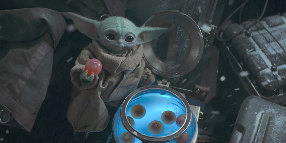 the mandalorian baby yoda almost eating frog lady egg