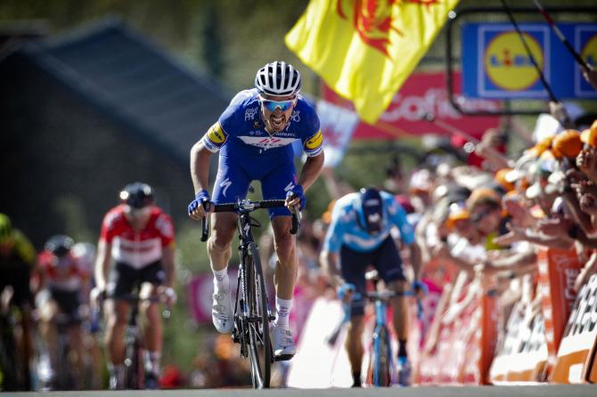 Julian Alaphilippe (Quick-Step Floors) en route to the win in Fleche Wallonne