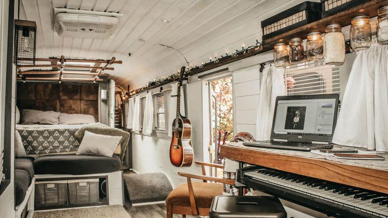 interior of school bus tiny home