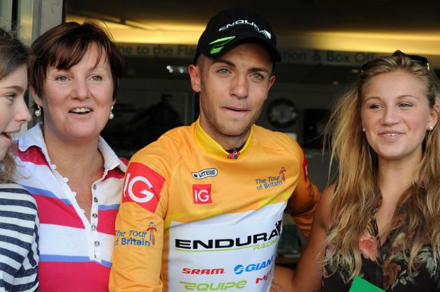Jonathan Tiernan-Locke and fans, Tour of Britain 2012, stage seven