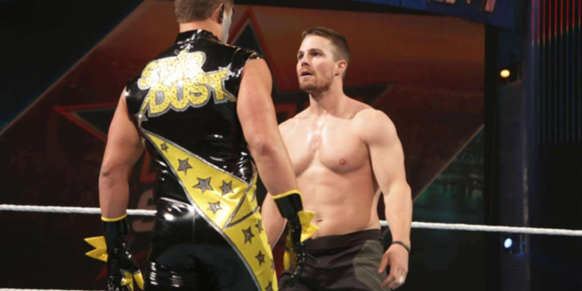 Stardust and Stephen Amell at SummerSlam