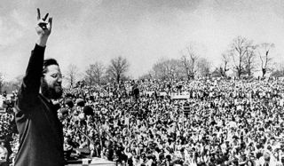 Ira Einhorn as the master of ceremonies at the first Earth Day rally on April 22, 1970.