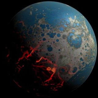 The concept of an artist of the early Earth shows a surface plagued by great shocks.