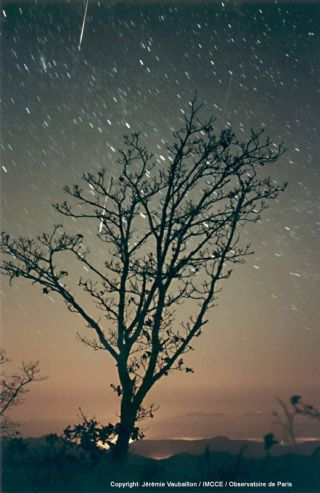 French skywatcher Jeremie Vaubaillon captured this image during the 2001 Leonid meteor shower from South Korea.