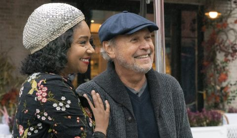 Street singer Emma (Tiffany Haddish) and venerated comedy writer Charlie (Billy Crystal) strike up a unique friendship after she wins lunch with him at a celebrity auction in 'Here Today,' cowritten and directed by Crystal.