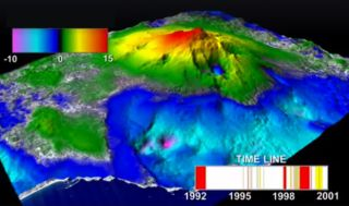 A screengrab from the animation showing the rise and fall of the slopes of Mount Etna as its magma chamber expands and retracts between 1992 and 2001.