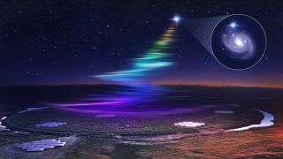 An artist's depiction of the LOFAR array detecting low-frequency radio waves from a fast radio burst.