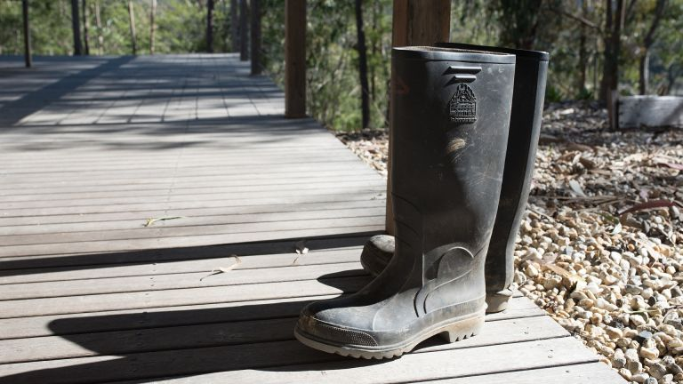 cd8c25e17 The best wellies for men: a pair of wellington boots sat on a boardwalk in