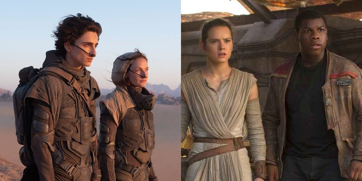 Paul Atreides and Lady Jessica in Dune and Rey and Finn in Star Wars: The Force Awakens