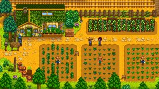 Stardew Valley Expanded mod - The player standing on Emerald Farm, a new area and character in the mod