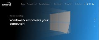 screenshot of LinuxFX's website