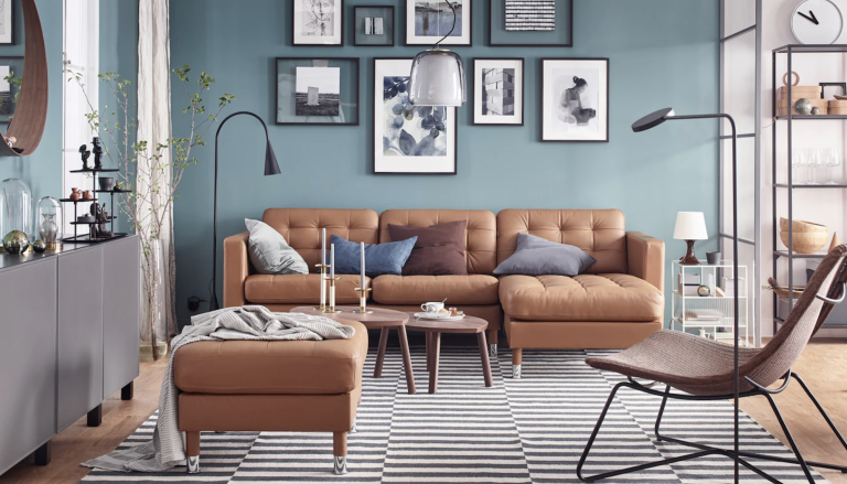 Ikea sofa in a blue living room