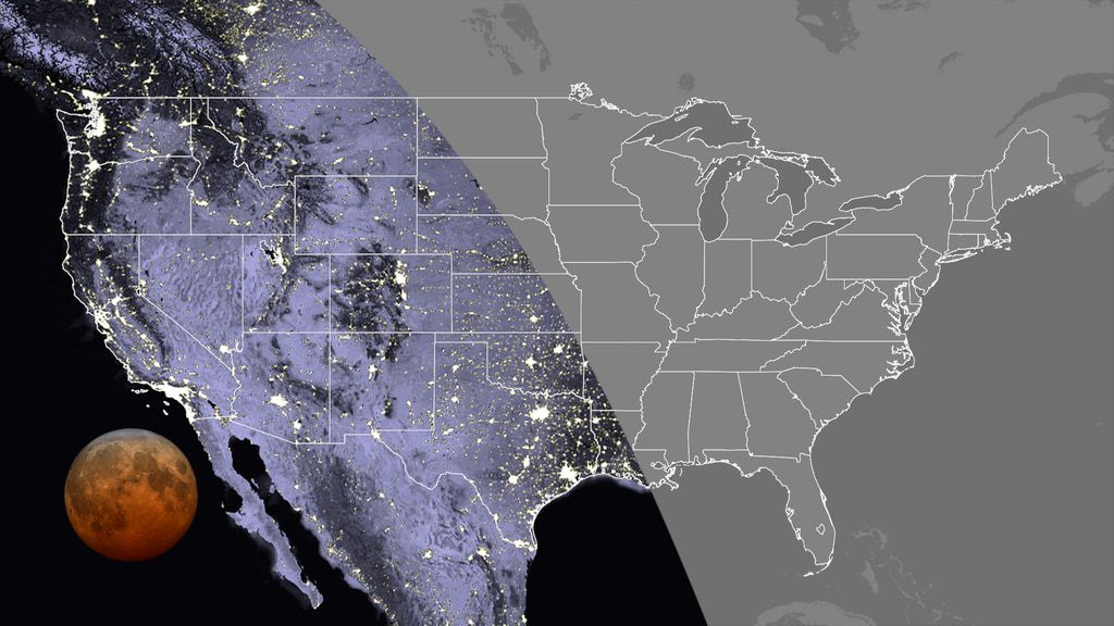 Visibility of the total phase in the contiguous U.S., at 11:11 GMT. Totality can be seen everywhere in the Pacific and Mountain time zones, along with Texas, Oklahoma, western Kansas, Hawaii and Alaska.