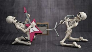 Skeletons playing guitar