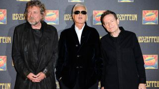 A picture of Led Zeppelin members Robert Plant, Jimmy Page and John Paul Jones